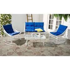 image modern wicker patio furniture. Berkane 4-Piece Patio Seating Set With Navy Cushions Image Modern Wicker Patio Furniture G