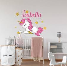 name wall decal unicorn nursery decor