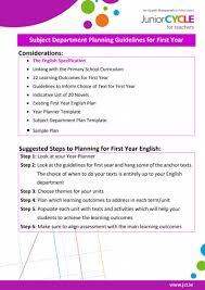 Teacher Curriculum Template English Planning Junior Cycle For Teachers Jct