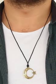 image men s leather necklace moon stars metal accessories drawstring