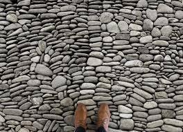 cobble stone paving effect flooring grey feet vinyl