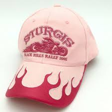 details about hot leathers womens pink sturgis black hills motorcycle rally 2005 ball cap hat
