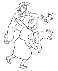 Small Picture Farm Work and Chores coloring page Chase the pigs colouring