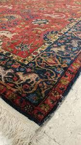 20th century antique silk turkish rug handmade oriental rug red and blue fine