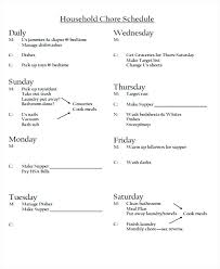 Household Chores List Printable Chore Schedule Details File Format