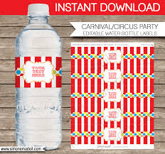 editable carnival party water bottle labels circus birthday party printable decorations diy template