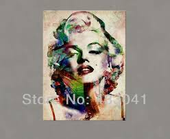 portrait oil painting marilyn monroe wall art home decor famous lady woman modern abstract canvas picture