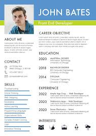 2020 Latest Cv Format Free Front End Developer Resume Cv Template In Photoshop