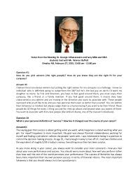 warren buffett notes from the q a between ivey mba hba students notes from the meeting dr george athanassakos and ivey mba and hba students had