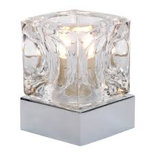modern glass ice cube touch table lamp with chrome base co uk kitchen home
