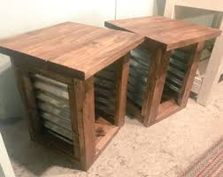 rustic end tables. Farmhouse Style End Tables, Tin Accent Provincial Brown Rustic Side Tables M