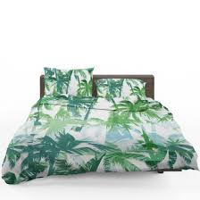 tropical summer print with palm bedding set