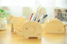 Creative cute animal wooden pencil holder