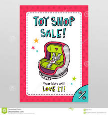 Toy Shop Vector Sale Flyer Design With Baby Car Seat Stock Vector