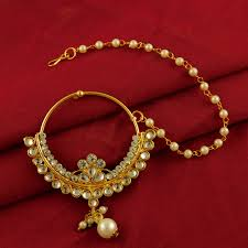 Gold Nose Ring Designs For Bridal Details About Bollywood Designer Kundan Nose Ring Bridal Nath Goldplated Fashion Jewelllery