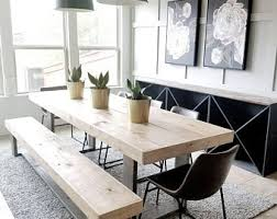 Dining room table bench Square Made To Order Modern Rustic Farmhouse Dining Table And Bench Set Gray And Natural Wood Etsy Dining Table Bench Etsy