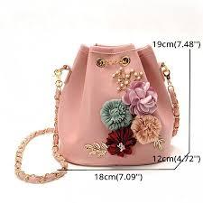 stylish pu leather flower pattern bucket bag shoulder bag cross bags cod
