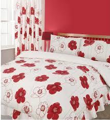 red colour reversible fl bedding duvet cover set poppy flowers design