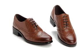 black brown genuine leather oxford shoes for women flats lace up causal brogues shoes dress heel
