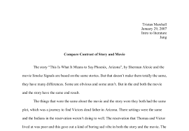 compare contrast of sherman alexies movie and story a level  document image preview