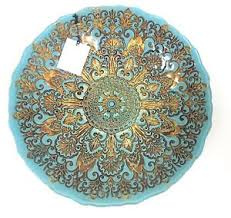 Turquoise Decorative Bowl NEW AKCAM TURQUOISE BLUEGOLDBROWN FORGED GLASSDECORATIVE BOWL 32