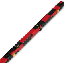 peradon thin leather cue case black red patch