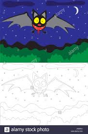 painting for children a bat a night landscape