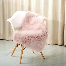 blush pink faux sheepskin rug high pile super soft fur area