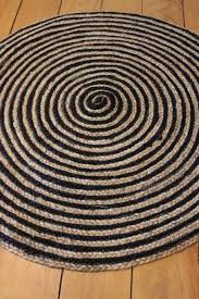 round floor mat black cream rug natural jute