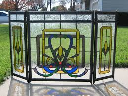 stained glass fireplace screen clear