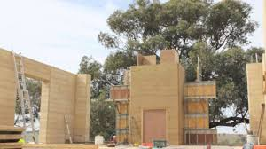 rammed earth construction timelapse