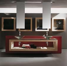 bathroom cabinet design ideas. Stunning Bathroom Idea With Recessed Wall Storage Design Above Red Unique Vanity Flashing Beige Cabinet Ideas