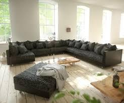 Couch Clovis Xxl Schwarz Mit Hocker Ottomane Rechts Wohnlandschaft Modulsofa