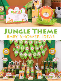 Jungle Theme Baby Shower Ideas - Lions and tigers and bears, oh my! Get  your guests into the groove of the jungle boogie in this fun, jungle theme  baby ...