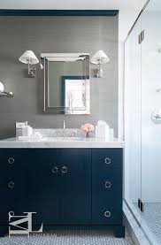 white bathroom cabinets gray walls. navy blue and gray bathroom features walls clad in grey grasscloth lined with a polished nickel white cabinets o