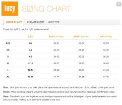 Lucy Activewear Size Chart From Lucy Com Widecurves