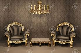 baroque armchairs with gold frame in old interior luxurious