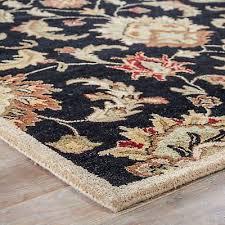 8 x 10 area rug oval black tan handmade hand tufted traditional vintage