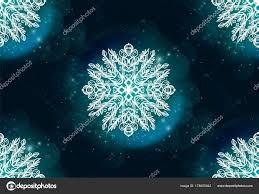 Seamless Texture Beautiful Drawn Snowflake White Blue Background