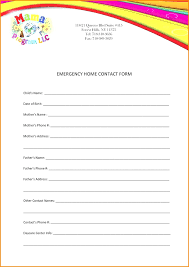 Employment Emergency Contact Form Emergency Contactrm Templater Child Employee Free Sample