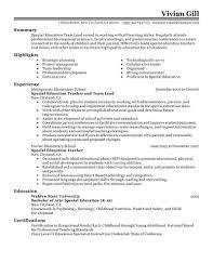 Special Education Teacher Resume Best Sample Resume Teachers Fresher Teacher Sample Application 41