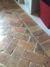 reclaimed inside cut thin brick floor