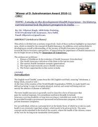 Topic A Study On The Development Health Insurance Its