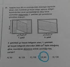 37. Aşağıda boyu 80 cm uzunluğundaki dikdörtgen biçiminde ek - Geometri