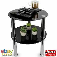 stylish black small round glass 2 tier table storage shelf coffee bedroom steel