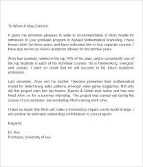 Letter Of Recommendation For Graduate School Example Under