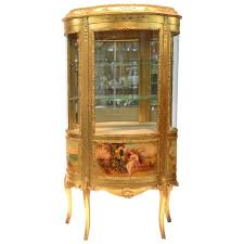large vernis martin curved glass gilt curio cabinet for