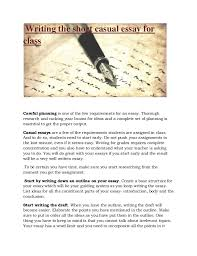 pitching it perfectly for the casual essay writing the short casual essay for class careful planning is one of the few requirements for