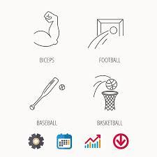 Baseball Signals Chart Baseball Football And Basketball Icons Biceps Linear Sign
