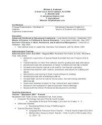 School Administrator Resume Template School Principal Resume